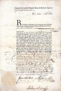 Companhia Geral das Pescarias Reaes do Reino do Algarve, Lissabon, Aktie von 1785. Gründung 1773 für den Thunfisch- und Sardinenfang vor der Küste der Algarve.
