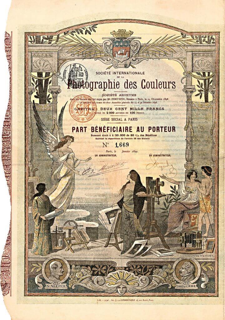 """Société Internationale de la Photographie des Couleurs S.A., Paris, Wertpapier von 1899. Dieses prachtvolle Papier wurde von Lucien Metivet entworfen. Lucien Metivet (1863-1932), franz. Maler, Plakatkünstler und Designer, Illustrator bekannter Zeitschriften wie """"Rire"""" oder """"Assiette au Beurre"""". Schwerpunkt der Gesellschaftsaktivitäten war die Herstellung von Farbportraits und die möglichst originalgetreue photographische Wiedergabe von Gemälden."""