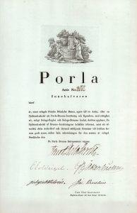 Porla Brunns AB, Stockhol, Gründeraktie von 1826 (undatiert). Mit Originalsignatur des berühmten schwedischen Chemikers Jöns Jakob Berzelius (1779-1848).