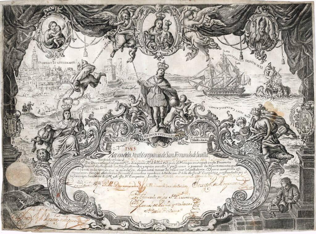 Real Compañía de San Fernando de Sevilla, Aktie von 1748. Eine der Inkunabeln der Finanzgeschichte.