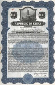 Republic of China, Pacific Development Loan, Bond über 1000 US-$ von 1937. Die Anleihe wurde von J.P. Morgan in New York aufgelegt. Sie diente der Konsolidierung der Dollar-Anleihe von 1919, deren ausstehende Bonds überwiegend im Besitz der Pacific Development Corporation waren.