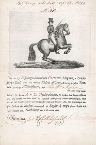 """Ridhus af Sten (Reitschule von Göteborg), Gründeraktie von 1824. Die Halle war 50 Jahre lang in Betrieb, bis sie im auch in Schweden grassierenden """"Gründerfieber"""" 1874 niedergerissen wurde, um Platz für Neubauten und Straßenerweiterungen zu schaffen."""