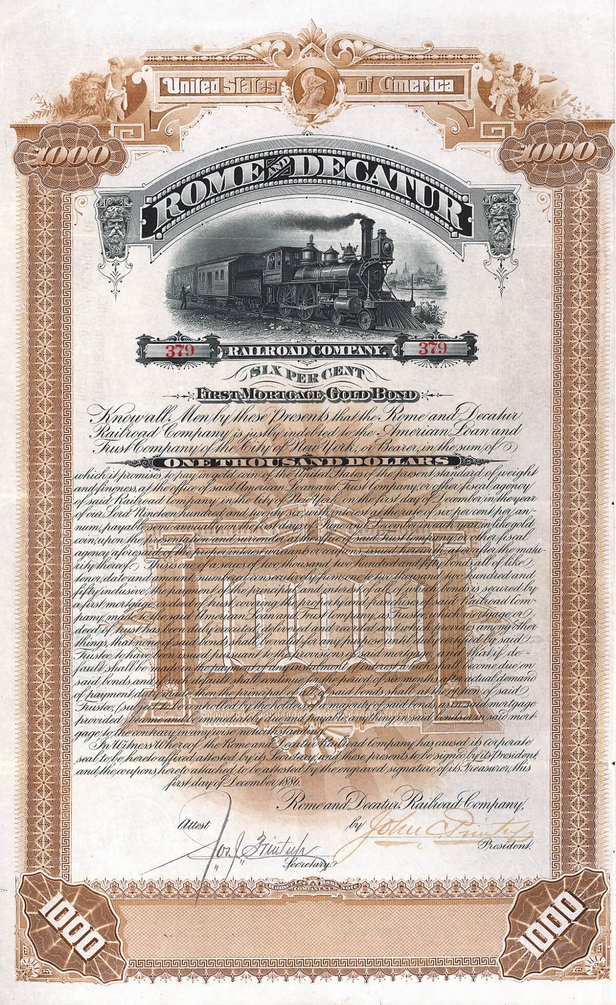 Rome & Decatur Railroad Company, Gold Bond über 1000 US-$ von 1886. Projektiert war die Strecke Rome, Ga. nach Decatur, Ala. (135 Meilen). Knapp die Hälfte (bis Attalla, Ala.) war vollendet, als die Bahn 1887 Konkurs ging.