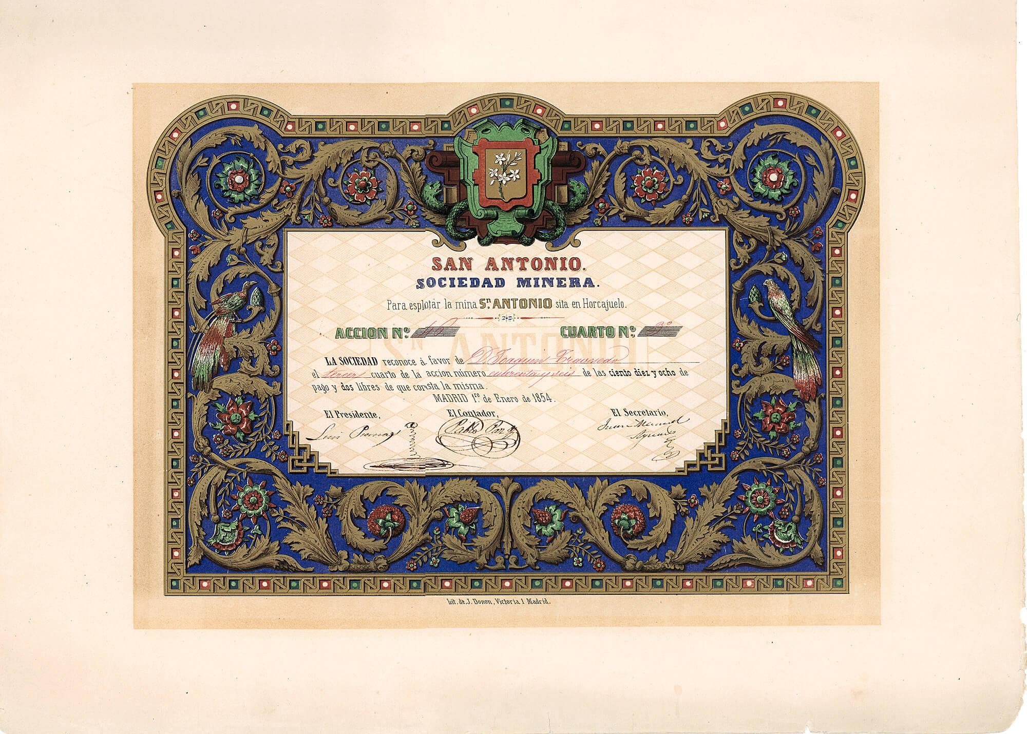 San Antonio, Sociedad Minera, Madrid, Aktie von 1854. Die Gesellschaft betrieb die Mine San Antonio in Horcajuelo. Das großformatige Papier wurde als Mehrfarbenlithographie im Stil mittelalterlicher Buchmalereien hergestellt.