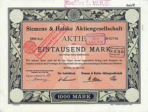 Siemens & Halske, Berlin, Aktie über 1000 Mark von 1919, graphische Gestaltung von Ludwig Sütterlin