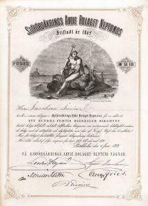 Sjöförsäkrings AB Neptunus, Stockholm, Aktie von 1872. Alte, schon 1862 gegründete schwedische Seeversicherungs-Gesellschaft.