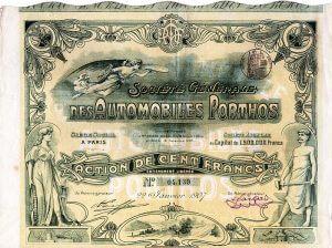 """Société Générale des Automobiles Porthos S.A., Paris. """"Porthos"""" baute in Billancourt 1906-1914 Vier- und Sechszylinder-Automobile. Mit einem gewaltigen Achtzylinder von 11 Liter Hubraum machte der """"Porthos"""" beim französischen Grand Prix 1907 von sich reden."""