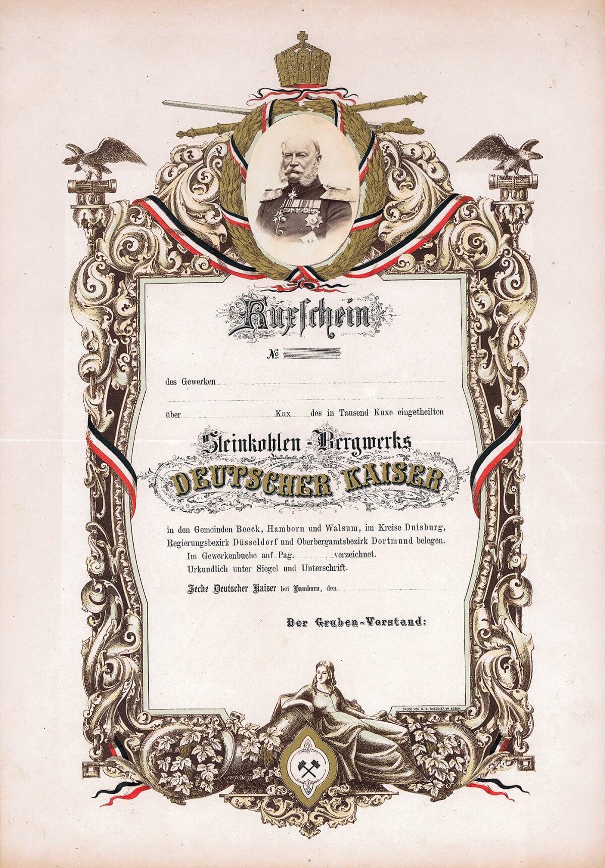 Steinkohlen-Bergwerk Deutscher Kaiser, Hamborn, Kuxschein von 1885. August Thyssen kaufte diese Kuxscheine auf, um seinen eisenindustriellen Unternehmungen eine eigene Kohlenbasis in einem vertikal integrierten Konzern zu schaffen