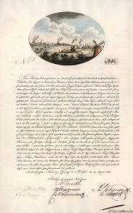 Steinkohlengrube König Gustaf IV. Adolph, Aktie von 1805. Die Gesellschaft wurde 1797 gegründet. Mit ihr sollten die Steinkohlevorkommen in Höganäs (Mittelschweden) ausgebeutet werden. Man hoffte, die Steinkohle zum Betrieb der gerade eingeführten Dampfmaschinen verwenden zu können. 1805 wurde eine Kapitalerhöhung notwendig. Das älteste bekannte Wertpapier mit Farbabbildung!