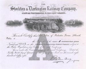 Stockton & Darlington Railway, Aktie über 25 £ von 1858. Wirtschafts- und verkehrsgeschichtlich bedeutendes Papier!