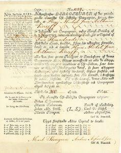 """Svenska Ost-Indiska Compagniet, Götheborg, Aktie von 1798. Diese Aktienemission dokumentiert den Kapitalfluss der an der General Keyzerlich Indischen Kompagnie beteiligten Kaufleute, die nach Auflösung der Habsburger Gen. Keyzerl. Indischen aufgrund der """"Pragmatischen Sanktionen"""" neue Investitionsmöglichkeiten am Ost-Indien-Handel suchten."""