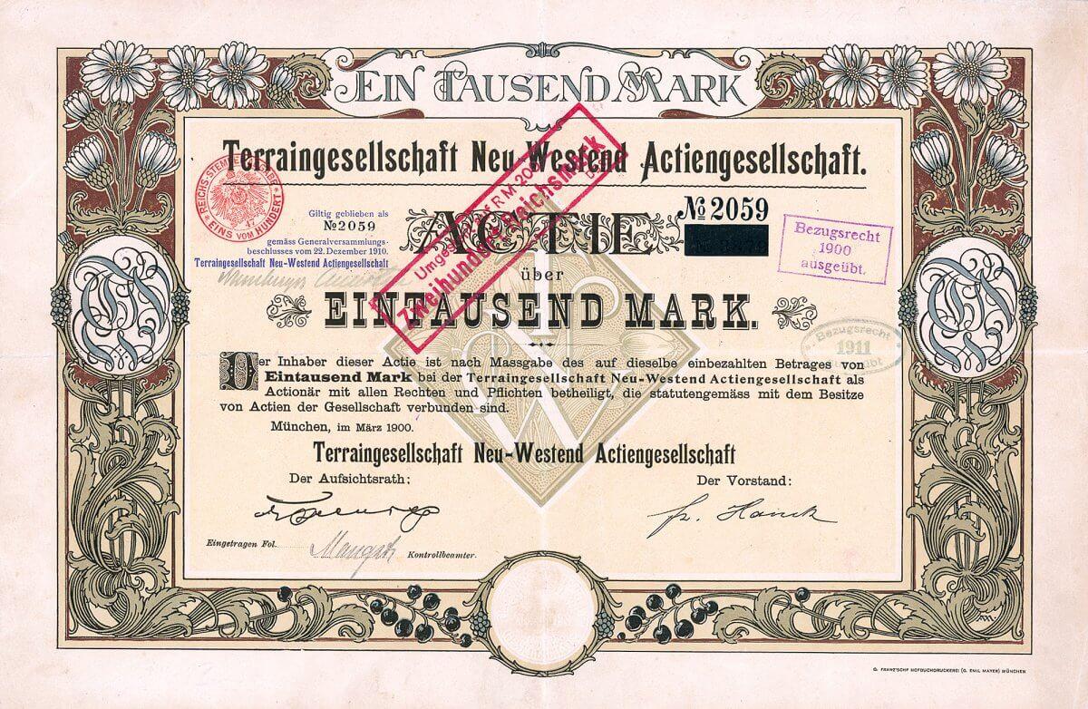 Terraingesellschaft Neu-Westend AG, München, Gründeraktie von 1900. Die 1900 gegründete Gesellschaft übernahm zur Verwertung 2,3 Millionen qm Grundbesitz in Laim, Pasing und Obermenzing. Eine starke Wertsteigerung brachte 1908 die Eröffnung der Straßenbahnlinie über Laim nach Pasing, zu deren Bau die AG einen Zuschuß gab.