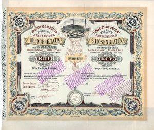 """Towarzystwo Akcyjne Wyrobow Bawelnianych S. Rosenblatta (AG Baumwollmanufaktur S. Rosenblatt), Lodz, Aktie über 5000 Rubel von 1893. Gegründet 1892 von dem jüdischen Fabrikanten Szaja Rosenblatt (1841-1921) nach Übernahme der 1858 errichteten Baumwollmanufaktur. Rosenblatt spezialisierte sich auf die Produktion von preiswerten Baumwollstoffen, die von minderer Qualität waren. Noch heute benutzen die Einwohner von Lodz den Ausdruck """"siajowe"""" (= von Szaja) als Synonym für schlechte Qualität."""