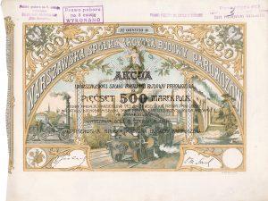 Warszawska Sp. Akc. Budowy Parowozów (Warschauer Lokomotivbau AG), Warschau, Aktie von 1920. Gründung 1919 in Lemberg durch den Ing. Z. Sochacki aufgrund eines Vertrages mit der polnischen Regierung über die Lieferung von 350 Dampflokomotiven an die poln. Staatsbahnen. Die Gesellschaft arbeitete eng mit der AG der Locomotiv-Fabrik vormals G. Sigl in Wiener-Neustadt zusammen