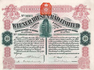 Wiener Riesen Rad Limited, London/Wien, Aktie über 10 shares à 1 £ von 1898