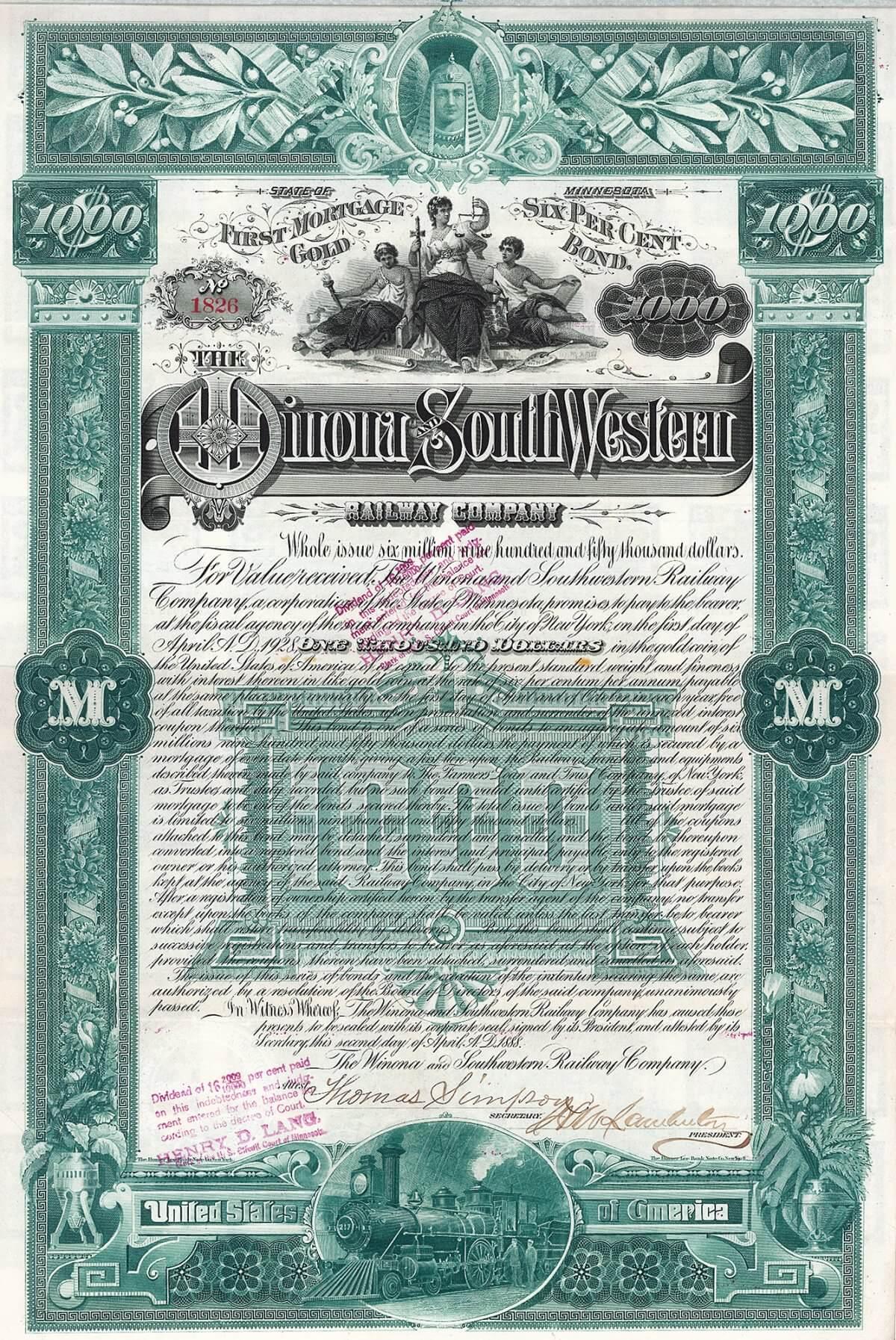 Winona & South Western Railway, Gold Bond über 1000 US-$ von 1888. Bei dieser Bahn langte das Geld vorne und hinten nicht: Bei Ausgabe dieser Wertpapiere waren (über 30 Jahre nach der Gründung!) gerade einmal 20 der geplanten 380 Meilen in Betrieb.