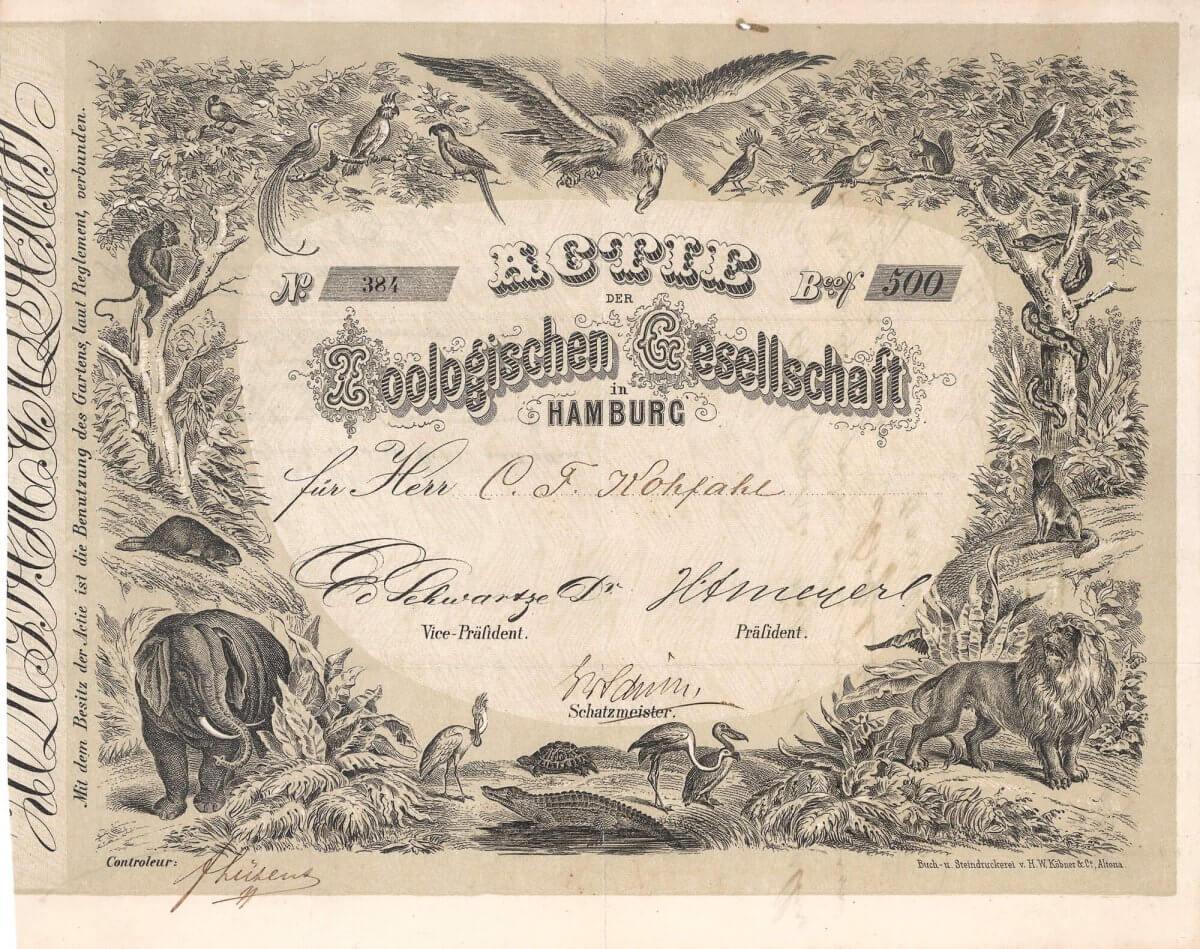 Zoologische Gesellschaft in Hamburg, Aktie über 500 Banco Shilling von 1864. Die 1860 gegründete Zoologische Gesellschaft in Hamburg war einer der ersten Zoos in Deutschland in der Rechtsform der AG. 1907 erhielt die Zoologische Gesellschaft intensive Konkurrenz durch den Tierhändler Carl Hagenbeck, der einen weiteren Tierpark in Hamburg eröffnete.