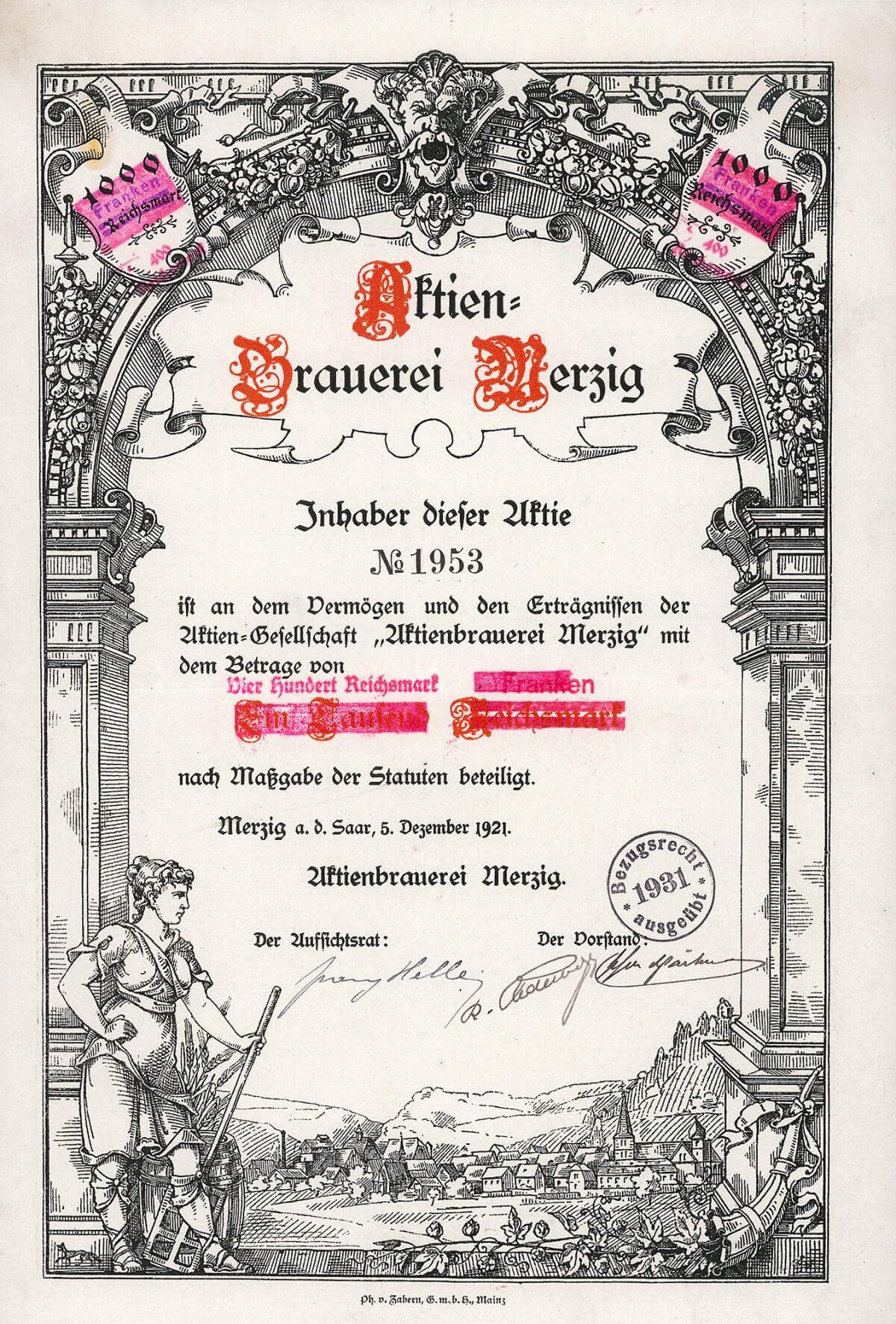 """Aktien-Brauerei Merzig a. d. Saar, Aktie von 1921. Die 1888 gegründete AG geht zurück auf die schon seit 1864 bestehende Brauerei Gebr. Schuler. 1953 Umfirmierung in """"Saarfürst-Brauerei AG""""."""