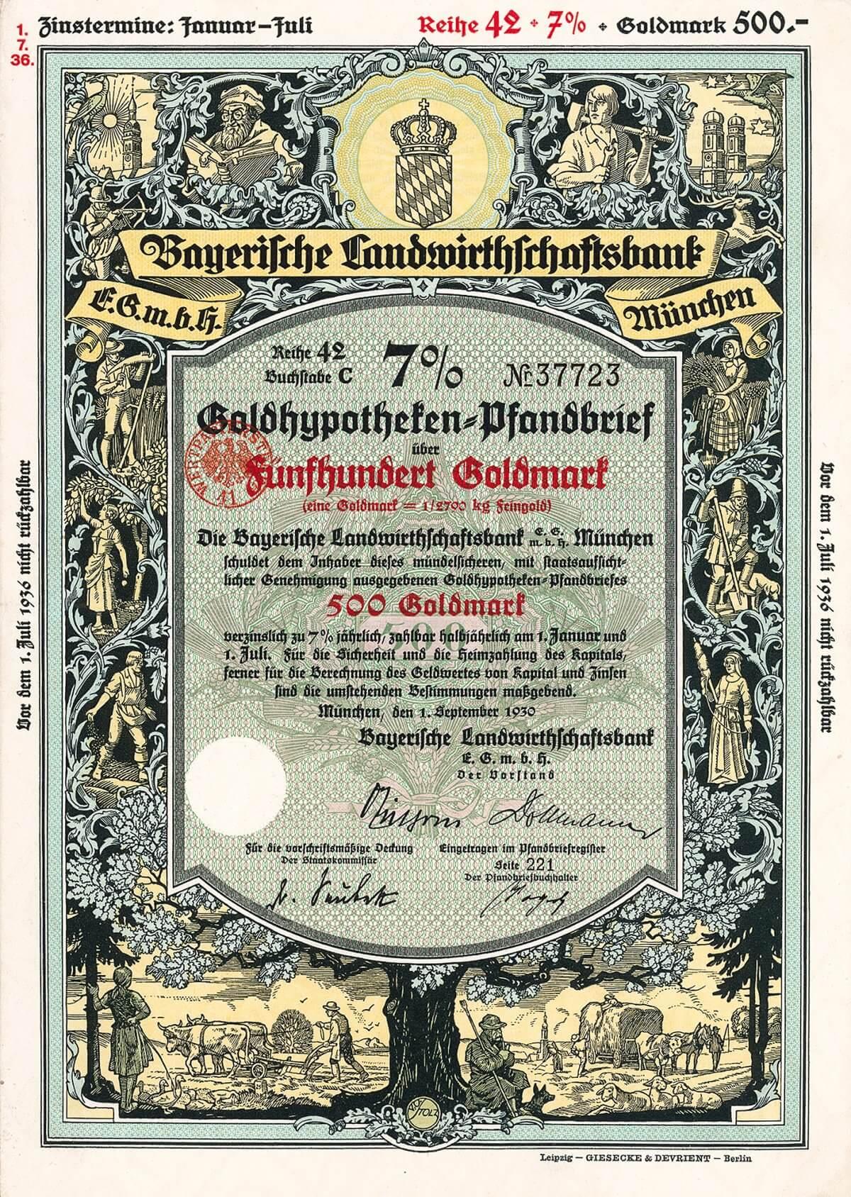 Bayerische Landwirthschaftsbank eGmbH, München, Goldpfandbrief über 500 Goldmark von 1930. Die dekorativsten jemals in Deutschland ausgegebenen Pfandbriefe, mit Künstlermonogramm V. O. Stolz nach einem früheren Entwurf des bekannten Münchener Grafikers Fritz Weinhöppel.