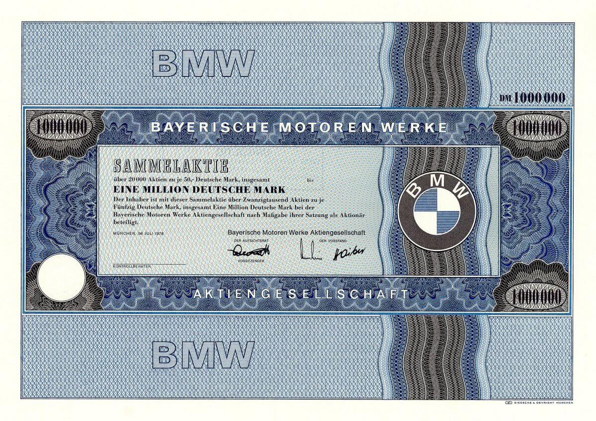 Bayerische Motoren Werke AG, München, Sammelaktie über 20.000 x 50 DM = 1 Million Deutsche Mark von 1978. Rarität.