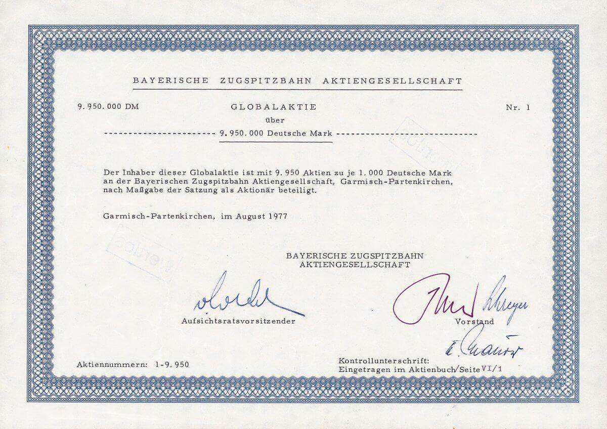 Bayerische Zugspitzbahn AG, Garmisch-Partenkirchen, Globalaktie No. 1 über 9.950.000 DM vom Aug. 1977. Diese Aktie No. 1 verbriefte 99,5 % des gesamten zum Zeitpunkt der Ausgabe bestehenden Kapitals (nur 9 Globalaktien waren insgesamt ausgegeben). Per se ein Unikat.