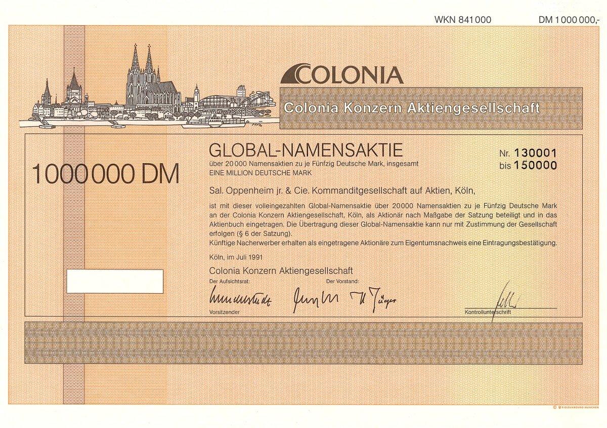 Colonia Konzern AG, Köln, Global-Namensaktie über 20.000 x 50 DM = 1 Million DM vom Juli 1991. Gründung 1839 als Kölnische Feuer-Versicherungs-Gesellschaft. 1991 erneut umbenannt in Colonia Konzern AG, 1994 in CKAG Colonia Konzern AG, 1997 in AXA Colonia Konzern AG und zuletzt 2001 in AXA Konzern AG.