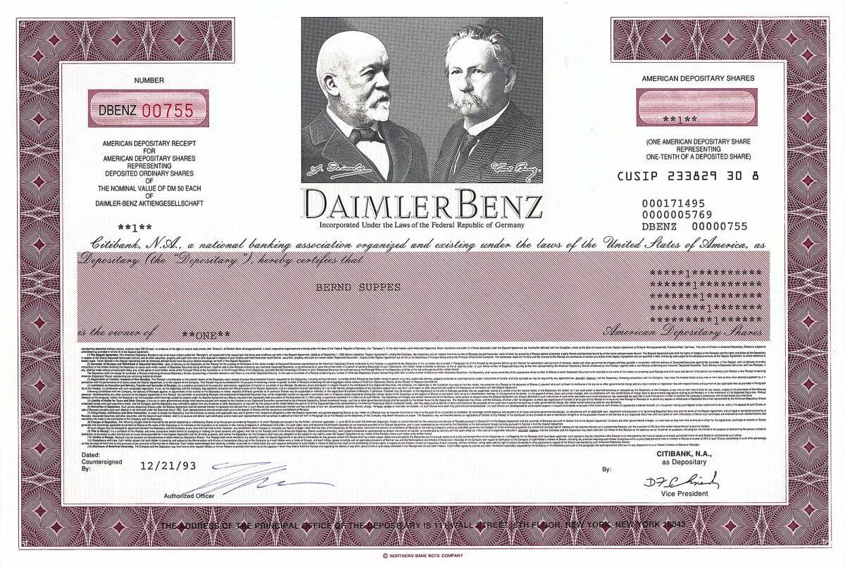 Daimler-Benz AG, Stuttgart / New York, Aktie über 50 DM von 1993 (American Depository Share), ausgegeben noch vor der Einführung der Stückaktie und Umfirmierung in DaimlerChrysler. 1999 Fusion mit der Nr. 3 am US-Automobilmarkt zur DaimlerChrysler AG, Trennung von Chrysler im August 2007 und Umbenennung in Daimler AG.