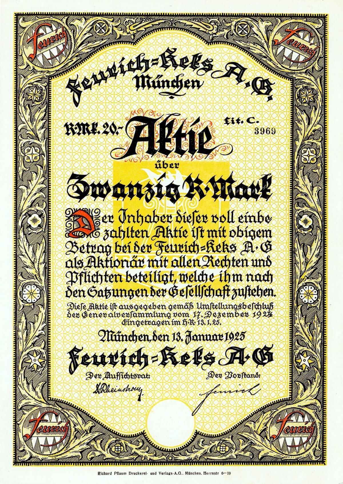 Feurich-Keks AG, München, Aktie über 20 RM von 1925. Gegründet 1880 durch den österreichischen Bäcker und Konditoreimeister Hugo Feurich, der sich in Solln bei München niederließ. Der Betrieb entwickelte sich prächtig, und die Firma siedelte nach Schwabing um, am 28.4.1923 umgewandelt in eine AG. 1960 übernahm die Firma Melitta, Minden das Werk, 1963 weiter verkauft an die Backwarenfirma Bahlsen.