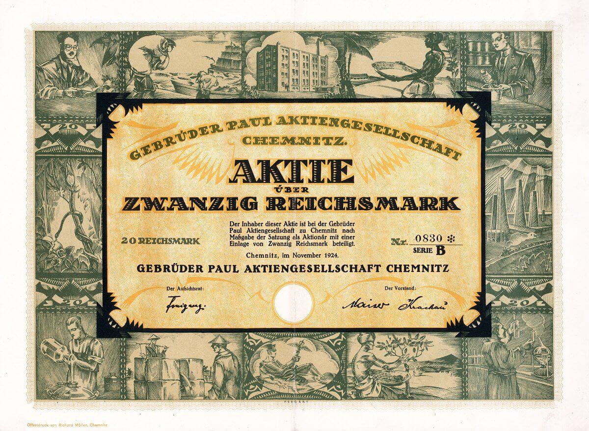 Gebrüder Paul AG, Chemnitz, Aktie über 20 RM von 1924. Traditionsreiche Firma, die Drogen, Farben und Gewürze herstellte und vertrieb, vor allem mit Herkunft aus exotischen Ländern.