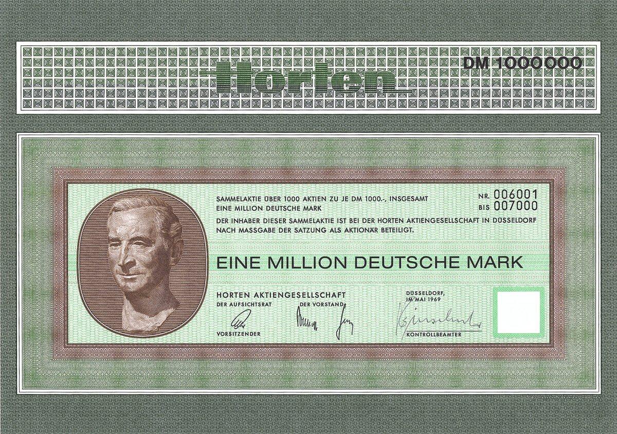 Horten Aktiengellschaft, Düsseldorf, Aktie über 1 Million DM von 1969. Auflage 100 Stücke. 1936 eröffnete Helmut Horten sein erstes Kaufhaus in Düsseldorf. Bald darauf öffneten je drei weitere Häuser im Rheinland und in Ostpreußen. 1953 Erwerb der von den Gebrüdern Schocken 1901 gegründeten Merkur AG mit 11 Häusern in Süddeutschland. 1968 Umwandlung in eine AG. 1996 erwarb die METRO über 95 % des Horten-Kapitals.