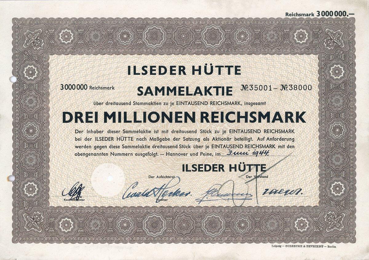 """Ilseder Hütte, Hannover und Peine, Sammelaktie über 3 Millionen RM von 1944. Ursprünglich gegründet 1856 als Bergbau- und Hütten-Gesellschaft zu Peine zwecks Nutzung der ausgedehnten Eisenerzvorkommen der Region. 1937 muß ein großer Teil des Bergwerkseigentums im Raum Salzgitter an die neu gegründete Reichswerke AG """"Hermann Göring"""" abgetreten werden, die von der Ilseder Hütte eine enge Zusammenarbeit verlangt. Die Strukturkrise der Branche erzwingt 1970 den Zusammenschluß mit den ehem. Reichswerken zur Stahlwerke Peine-Salzgitter AG (seit 1992 Preussag Stahl AG, heute Salzgitter AG)."""