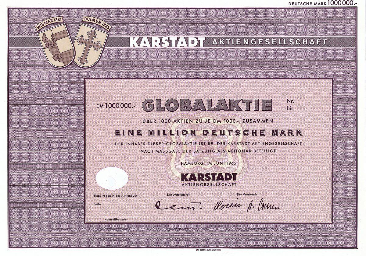 Karstadt Aktiengesellschaft, Hamburg, Globalaktie über 1 Million Deutsche Mark vom Juni 1965. Rudolph Karstadt gründete 1881 in Wismar sein erstes Tuch-, Manufaktur- und Confections-Geschäft. 1999 Fusion mit dem Versandhaus Quelle zur Karstadt Quelle AG. Ab 2007 firmierte die Holding des KarstadtQuelle-Konzerns unter dem Namen Arcandor AG. 2009 Eröffnung des Insolvenzverfahrens.