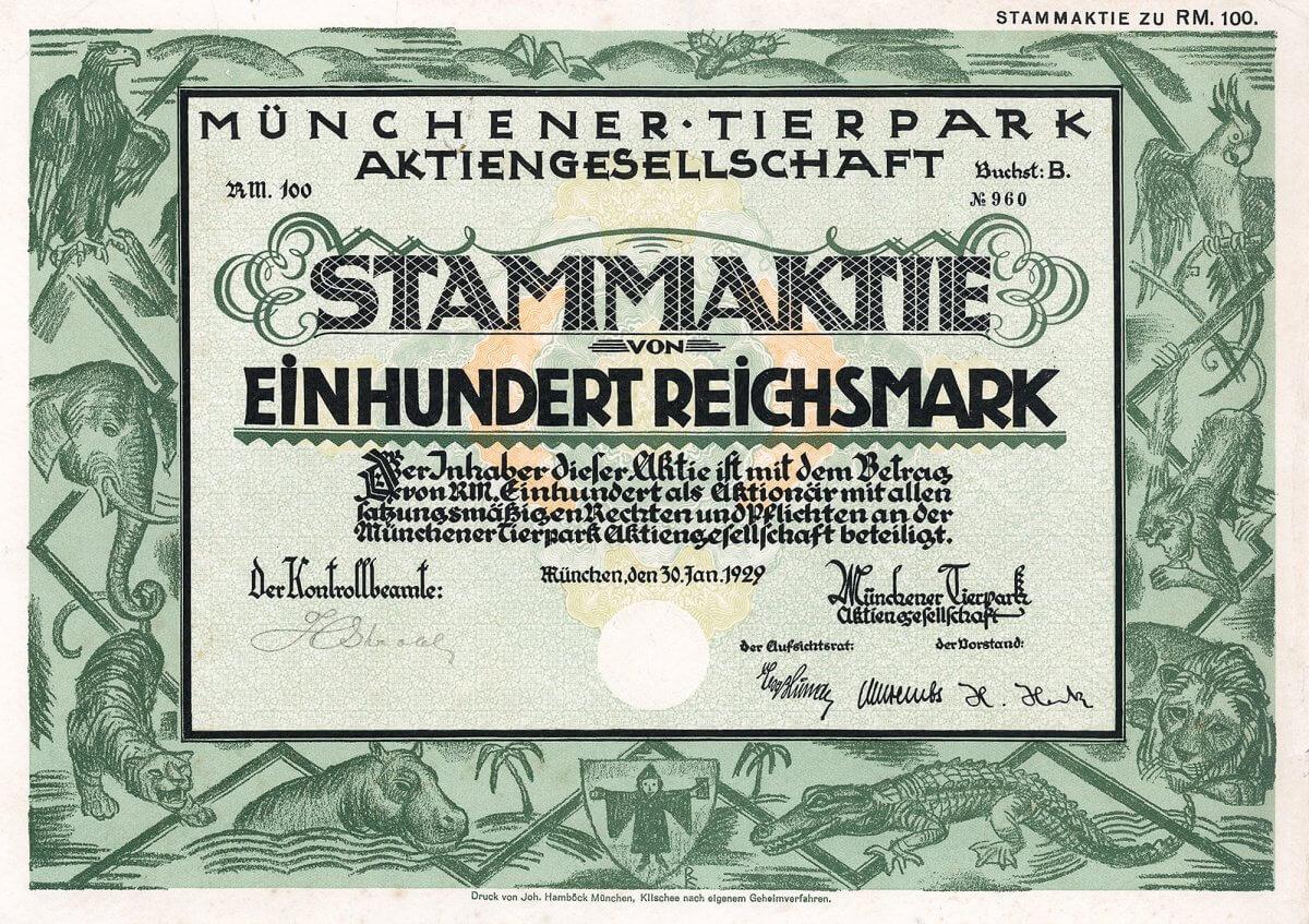 Münchener Tierpark AG, München, Gründeraktie über 100 RM von 1929. 1957 Umfirmierung in Münchener Tierpark Hellabrunn AG. Der Tierpark verfügt über ein Gelände von 360.000 qm, wovon 46.500 qm bebaut sind.