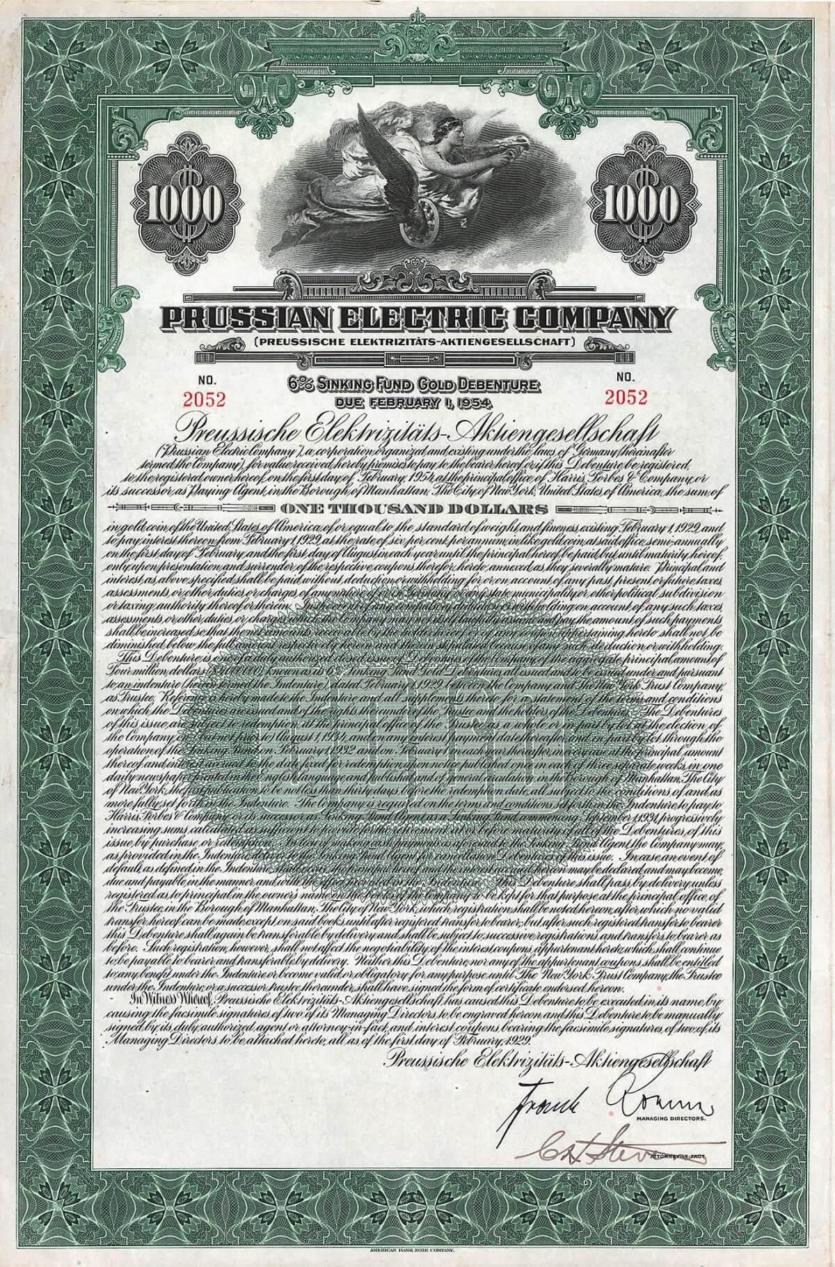 Preussische Elektrizitäts-AG (Prussian Electric Company), Gold Debenture über 1000 US-$ von 1929. Hervorgegangen 1927 aus der 1923 gegründeten Preußische Kraftwerke Oberweser AG, in der der Preußische Staat seine in 20 Jahren zusammengekommenen Interessen in der Stromwirtschaft zusammenfaßte. 2000 mit der Bayernwerk AG fusioniert zur E.ON Energie AG.