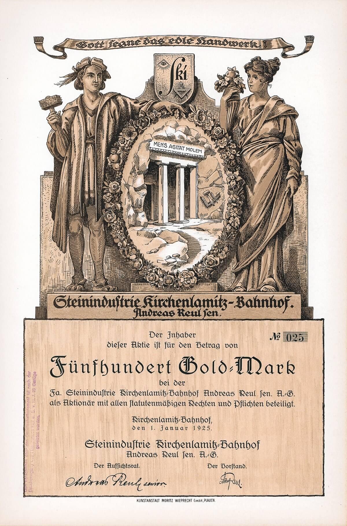 Steinindustrie Kirchenlamitz-Bahnhof Andreas Reul sen. AG, Gründeraktie über 500 Goldmark von 1925.