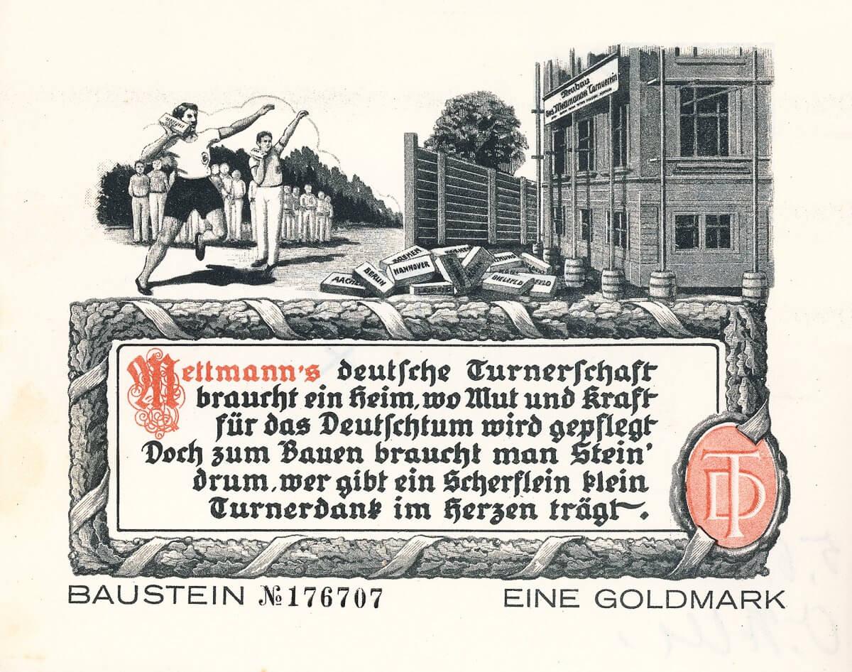 """Turnverein Mettmann, Deutsche Turnerschaft, Baustein über 1 Goldmark von 1924. Ausgegeben zum Bau einer neuen Turnhalle, """"wo Mut und Kraft für das Deutschtum wird gepflegt""""."""