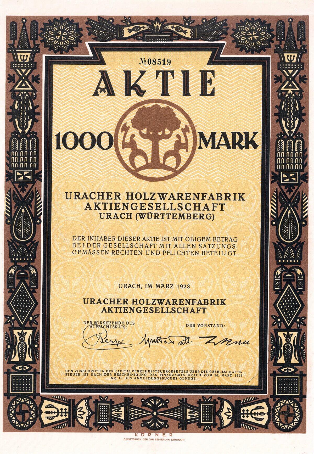 Uracher Holzwarenfabrik AG, Urach, Aktie über 1000 Mark von 1923. Äußerst ansprechende Gestaltung mit kunsthandwerklichen Schnitzereien in der Umrandung.