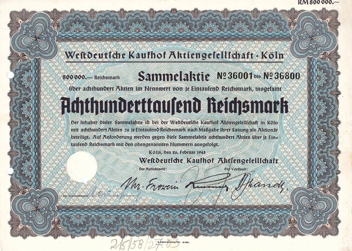 """Westdeutsche Kaufhof AG, Köln, Sammelaktie über 800.000 RM, ein Unikat. Gründung der Einzelfirma Leonhard Tietz 1879 in Stralsund. Seit 1905 """"Leonhard Tietz AG"""", 1933 arisiert und umbenannt in Westdeutsche Kaufhof AG."""