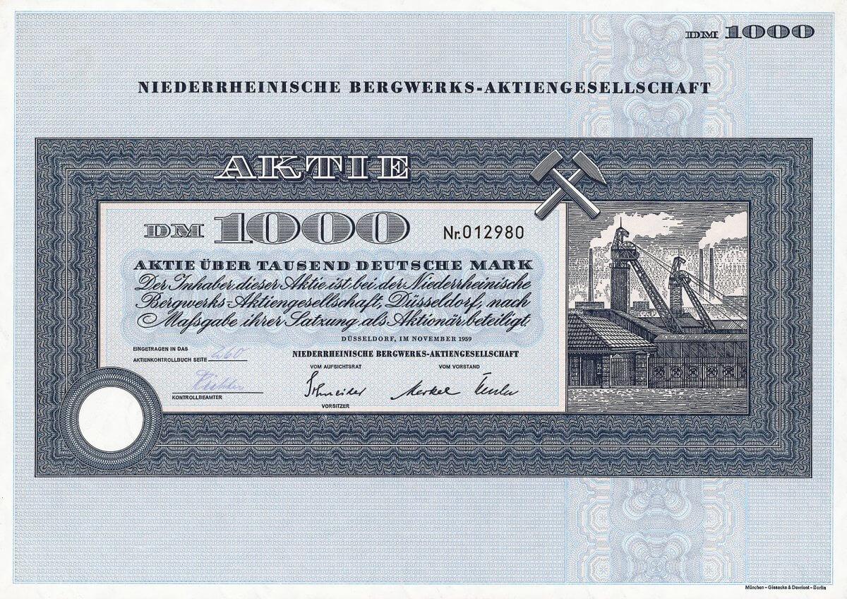 """Niederrheinische Bergwerks-Aktiengesellschaft, Düsseldorf, Aktie über 1000 Deutsche Mark von 1959. Gründung 1911 als GmbH, in der die Gewerkschaften """"Großherzog von Baden"""", """"Ernst Moritz Arndt"""" und """"Süddeutschland"""" zusammengeschlossen waren. Neugründung 1959 durch Umwandlung der Gewerkschaft Leonhardt. 1969 Einbringung des Bergbauvermögens in die Ruhrkohle AG, die sich bis dahin bereits 99,8 % der Aktien gesichert hatte. Die Zeche Niederberg in Neukirchen-Vluyn wurde erst Ende 2001 als eine der letzten des Ruhrgebiets stillgelegt."""