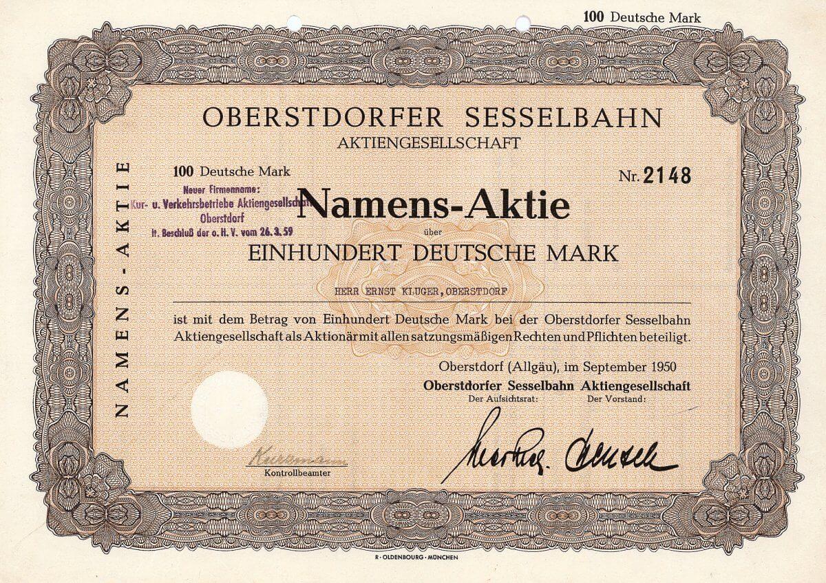 Oberstdorfer Sesselbahn Aktiengesellschaft, Oberstdorf (Allgäu), Namens-Aktie über 100 Deutsche Mark, im September 1950. Gründung Jan. 1950 zwecks Betrieb einer Kleinseilschwebebahn, System von Roll (Schweiz). Ab 1959: Kur- u. Verkehrsbetriebe AG, Oberstdorf.