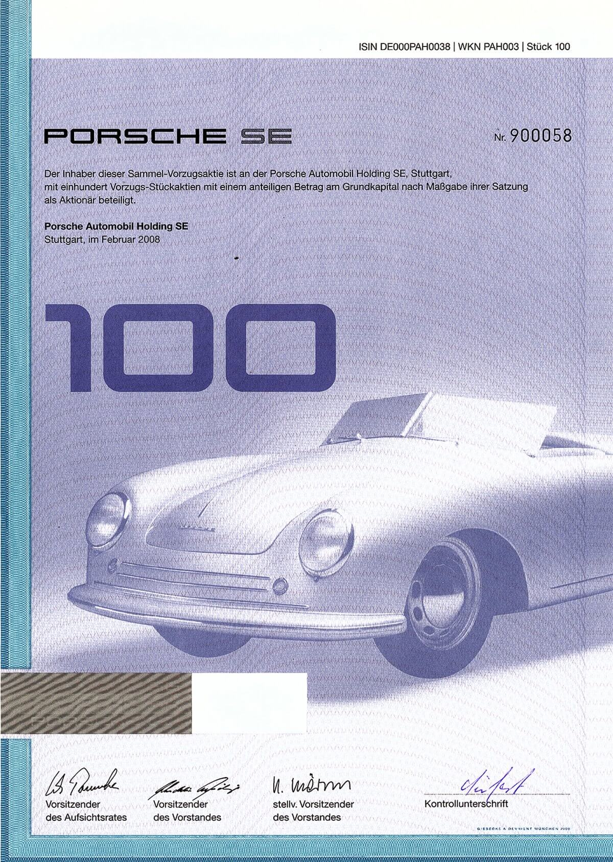 """Porsche Automobil Holding SE, Stuttgart, Sammel-Vorzugsaktie über 100 Stück, 2008. Der Name Ferdinand Porsche taucht seit der Wende zum 20. Jh. in der Geschichte des Automobils immer wieder auf: bei Lohner, bei Austro-Daimler, bei Daimler und Steyr und schließlich als Konstrukteur des legendären """"Volkswagen""""."""
