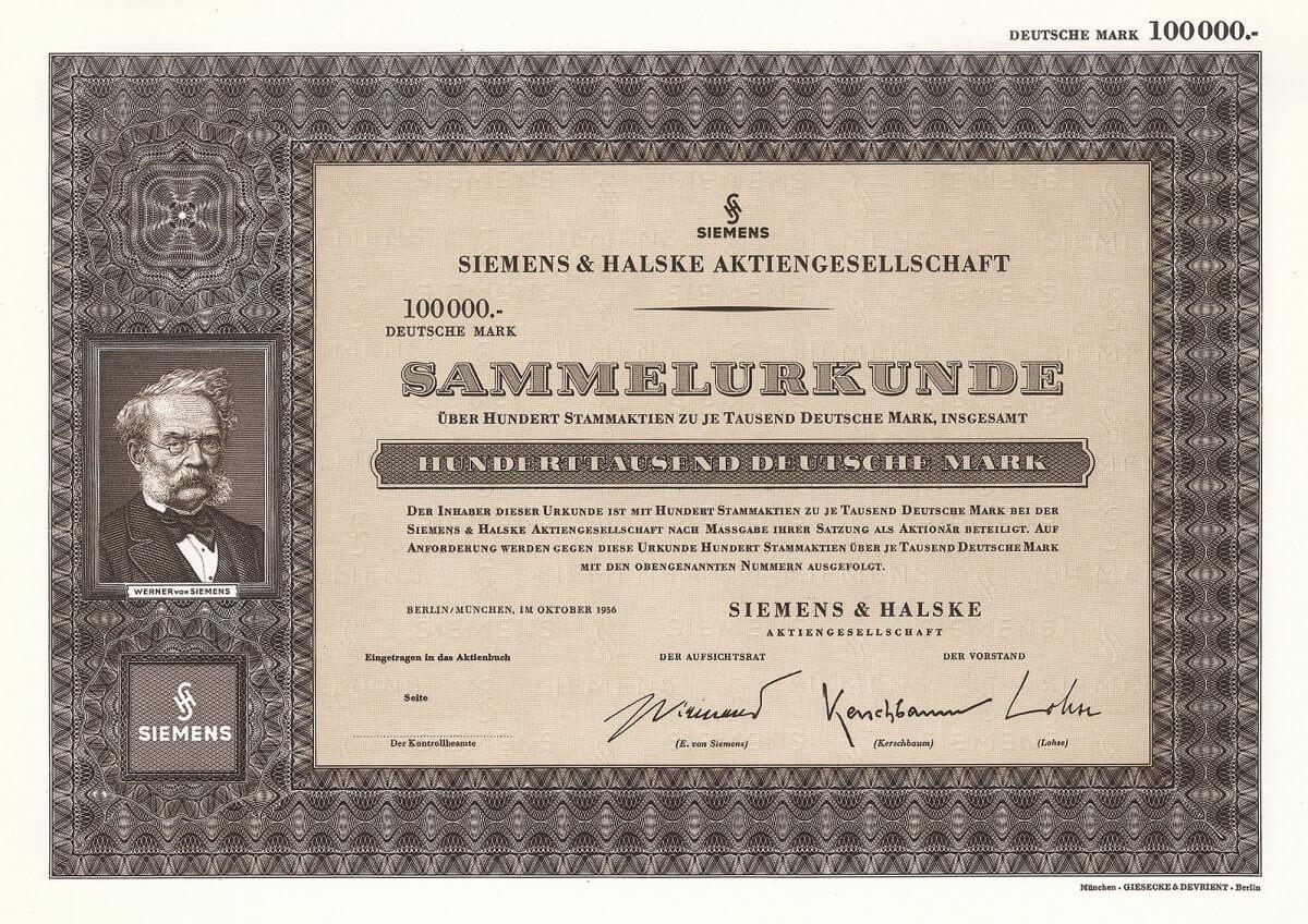 Siemens & Halske Aktiengesellschaft, Berlin/München, Sammelurkunder über 100 Stammaktien zu je 1000 Deutsche Mark, insgesamt 100.000 DM. Dekorative Aktie mit Dekorativ, mit Porträt-Vignette Werner von Siemens.