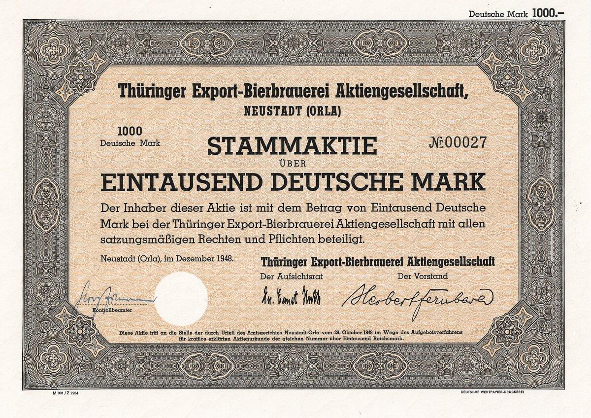 Thüringer Export-Bierbrauerei Aktiengesellschaft, Neustadt (Orla), Aktie über 1000 Deutsche Mark vom Dezember 1948, Von 1954 bis 1972 Thüringer Export-Bierbrauerei Neustadt/Orla Wilhelm Kluge KG. 1972 enteignet, als VEB Brauerei Neustadt/Orla weitergeführt. Von 1974 bis 1990 VEB Rosenbrauerei Pössneck / BT Neustadt im Getränkekombinat Gera. 1990-91 Thüringer Bier-Brauerei Neustadt/Orla, 1991 geschlossen.