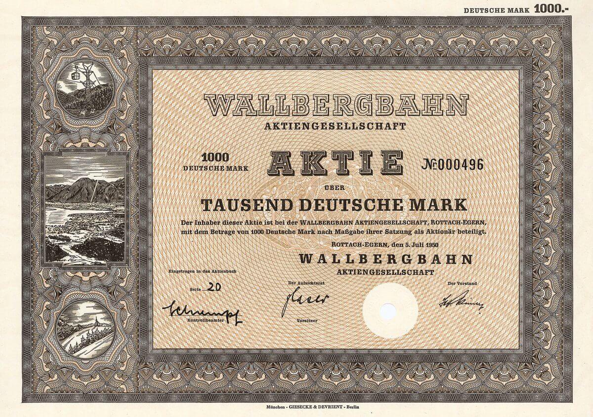 Wallbergbahn AG, Rottach-Egern, Gründeraktie über 1000 Deutsche Mark, 5. Juli 1950, Auflage 700 Stück. Initiatoren der 1950 gegründeten AG waren die Bayerische Hypotheken- und Wechselbank, das Herzogliche Brauhaus Tegernsee, der Hotelier Bachmair, der Cafétier Schneider und die Gemeinde Rottach-Egern. Im April 1951 ging die Bergbahn auf den Wallberg in Betrieb, im August 1951 wurde die Berggaststätte eröffnet.