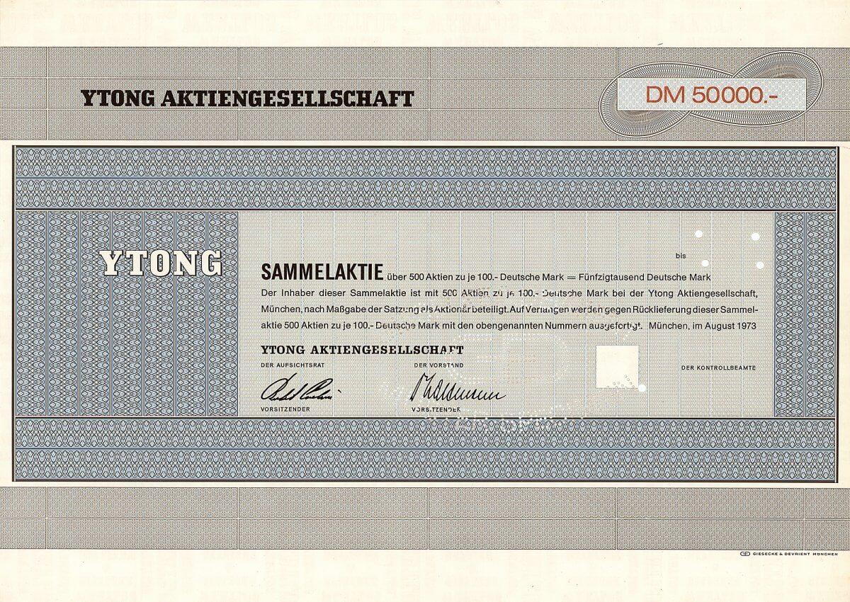 """Ytong Aktiengesellschaft, München, Sammelaktie über 500 Aktien zu je 100 Deutsche Mark = 50.000 Deutsche Mark, datiert 1973. Der bekannte Baustoffhersteller wurde 1964 gegründet. Rein juristisch war übrigens die YTONG GmbH Rechtsnachfolgerin der schon 1884 gegründeten Gewerkschaft Messel (bei Darmstadt gelegener Braunkohlentagebau im Stinnes-Konzern, heute die berühmteste Fundstätte prähistorischer Versteinerungen), später als Paraffin- und Mineralölwerk Messel GmbH Teil der in Halle ansässigen """"Riebeck' sche Montanwerke AG""""."""