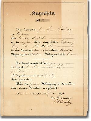 Eisenerz Bergwerk St. Moritz Lahn-Dill-Gebiet, Bochum, Kuxschein von 1874 UNIKAT + Autograph: Heinrich Grimberg (Wintershall-Gründer)