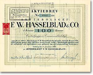 AB F.W. Hasselblad, Göteborg, Aktie über 100 Kronen von 1919 + ÄUSSERST SELTEN! Aktie aus dem Besitz des Erfinders Victor Hasselblad