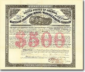Maryland Freestone Mining & Manufacturing, Washington, D.C., Gold Bond von 1870 DIE FREIGELASSENEN SKLAVEN GRÜNDEN EINE EIGENE FIRMA