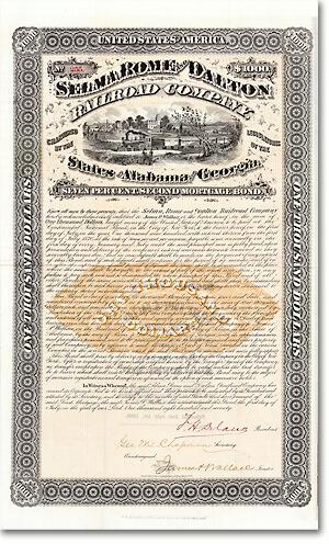 Selma, Rome & Dalton Railroad, Alabama & Georgia, Bond über 1000$ von 1870 Ein Entwurf der Künstlerwerkstatt von Henry Seibert & Bros., der Druckerei, die die allerschönsten Wertpapiere hervorbrachte!