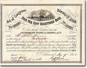 Confederate States of America, Bond über 100 $ von 1864, Criswell-Nr. 141 + Vignette: erste Panzerschlacht der Seegeschichte